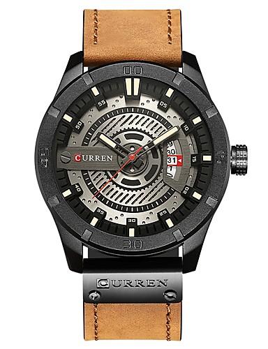 4b37846f67a1 CURREN Hombre Reloj de Pulsera Japonés Cuarzo Japonés Cuero Auténtico Marrón    Verde Oscuro 30 m