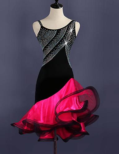 povoljno Odjeća za latino plesove-Latino ples Haljine Žene Trening Spandex / Til Kristali / Rhinestones Bez rukávů Visok Haljina