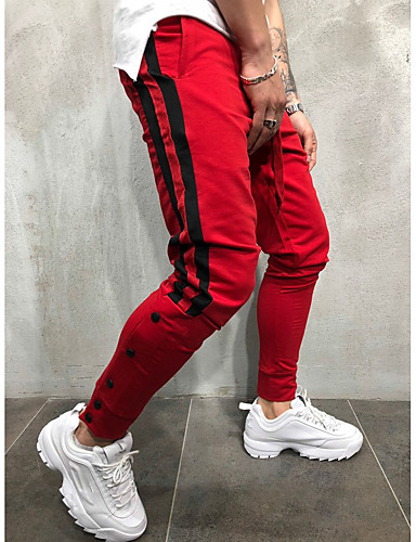 09104a5c6fd5 Ανδρικά Βασικό   Κομψό στυλ street Βράκα   Αθλητικές Φόρμες Παντελόνι -  Ριγέ   Συνδυασμός Χρωμάτων Μαύρο   Αθλητικά