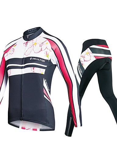 cheap Cycling Clothing-Realtoo Women's Long Sleeve Cycling Jersey with Tights - Black Plus Size Bike Clothing Suit Thermal / Warm Breathable 3D Pad Quick Dry Sweat-wicking Sports Polyester Spandex Floral / Botanical