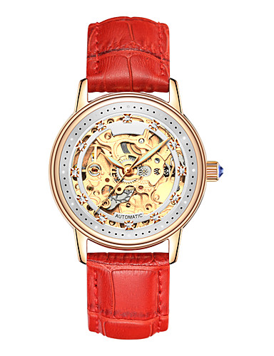 cheap Floral Watches-Angela Bos Women's Skeleton Watch Mechanical Watch Automatic self-winding Leather Black / White / Red 30 m Water Resistant / Waterproof Hollow Engraving Casual Watch Analog Ladies Flower Colorful -