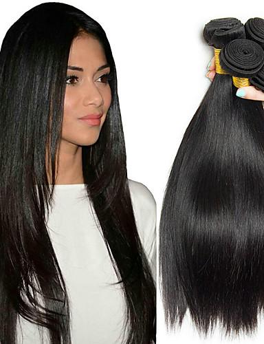 billige Nyheter-4 pakker Malaysisk hår Rett 8A Ekte hår Menneskehår Vevet Forlengere Bundle Hair 8-28 tommers Naturlig Farge Hårvever med menneskehår Silkete Glat Hairextensions med menneskehår Dame