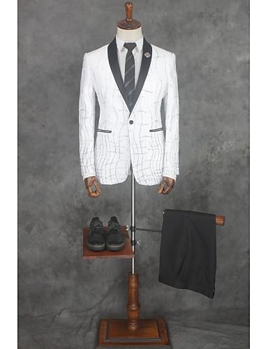 Prugasti uzorak Kroj po mjeri Poliester Odijelo - Stepenasti Droit 1 bouton / odijela