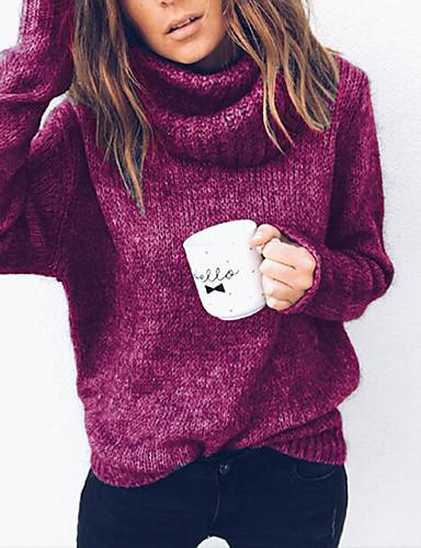billige Dametopper-Dame Daglig Grunnleggende Ensfarget Langermet Store størrelser Normal Pullover, Rullekrage Høst / Vinter Grå / Fuksia / Kakifarget XXXL / 4XL / XXXXXL