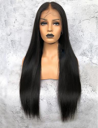 billige 360 blondeparykker-Ubehandlet hår 360 Frontal Parykk Deep Parting Kardashian stil Brasiliansk hår Yaki Straight Naturlig Parykk 150% Hair Tetthet Dame Lang Blondeparykker med menneskehår Premierwigs