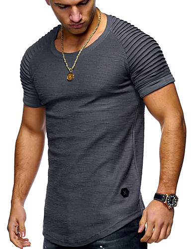 cheap Men's Tees & Tank Tops-Men's Basic T-shirt - Solid Colored Round Neck / Short Sleeve