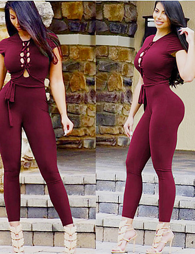 fa6f4a61dd4 Women s Open Back Workout Jumpsuit Black Burgundy Sports Solid Color  Spandex High Rise Bodysuit Clothing Suit Zumba Dance Running Activewear  Breathable ...