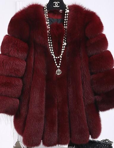 povoljno Ženske kaputi od kože i umjetne kože-Žene Dnevno Osnovni Zima / Jesen zima Normalne dužine Krzneni kaput, Color block Ovratnika Dugih rukava Umjetno krzno Kolaž Fuksija / Lila-roza / Navy Plava XXXL / 4XL / XXXXXL