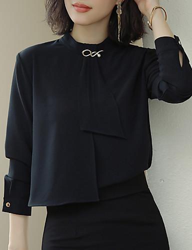 billige Dametopper-Skjorte Dame - Ensfarget Arbeid Hvit