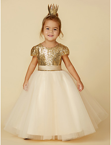 3fc2b4dc394 Princess Floor Length Flower Girl Dress - Tulle   Sequined Short Sleeve Jewel  Neck with Sequin   Sash   Ribbon by LAN TING BRIDE®