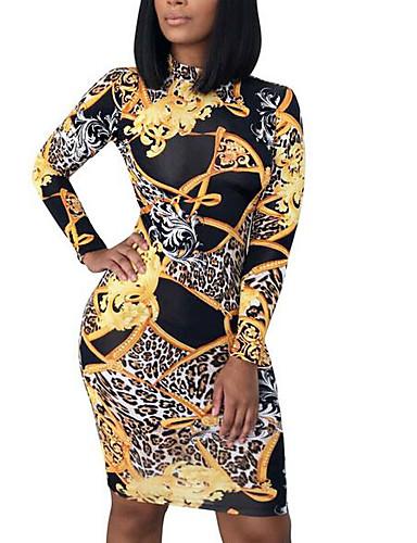 abordables Robes Femme-Femme Rétro Vintage Midi Moulante Robe Jaune L XL XXL Manches Longues