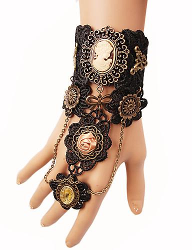 abordables Bracelet Bague-Bracelets Bagues Femme Tressé Roses Fleur Esclaves d'or Gros Fantaisie dames Steampunk Bracelet Bijoux Noir pour Soirée Mascarade Costumes de cosplay