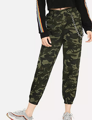 74ed6bff67 Women's Basic Daily Slim Chinos Pants - Camo / Camouflage High Waist Army  Green S M L