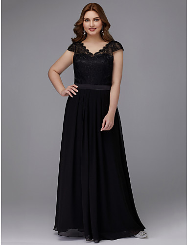 1fa8fa6341ce Plus Size A-Line V Neck Floor Length Chiffon   Lace Prom   Formal Evening  Dress with Sash   Ribbon by TS Couture®