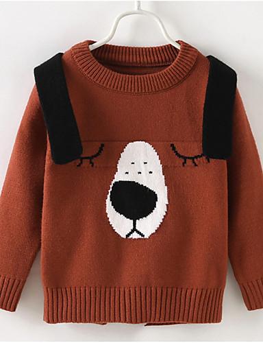 Dijete koje je tek prohodalo Dječaci Aktivan Jednobojni Geometrijski oblici Dugih rukava Regularna Džemper i kardigan Braon