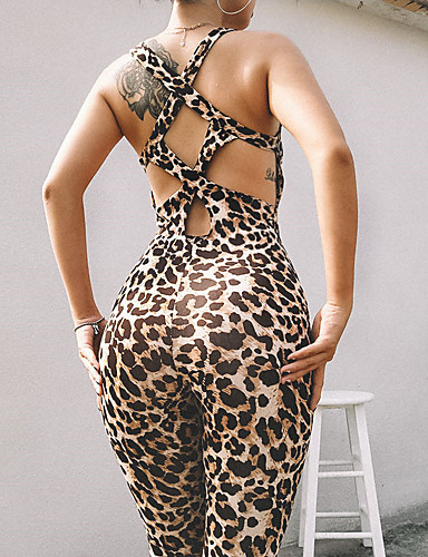 50493319ebb Women s Cut Out Romper Workout Jumpsuit Brown Sports Leopard High Rise Bodysuit  Zumba Yoga Fitness Sleeveless Activewear Breathable Butt Lift Tummy Control  ...