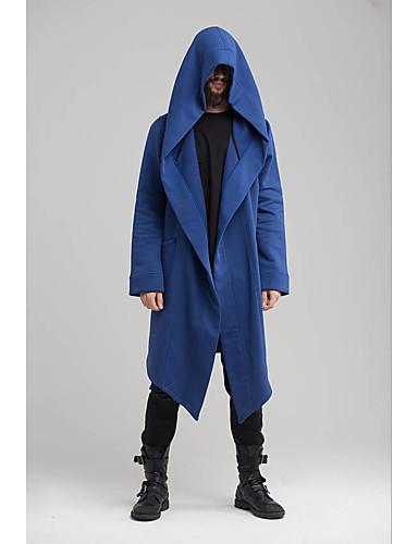 男性用 日常 ストリートファッション ロング トレンチコート, ソリッド フード付き 長袖 ポリエステル ブラック / ブルー / グリーン