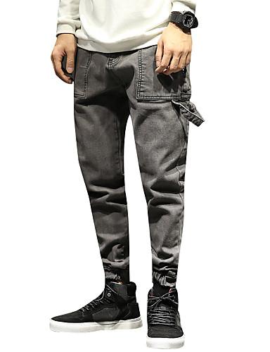 1494b44c349b Per uomo Essenziale   Moda città Taglie forti Cotone Largo Harém   Jeans  Pantaloni - Tinta unita Grigio   Serata