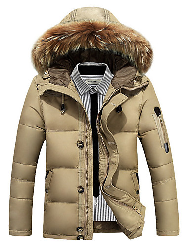 cheap Fur Trims-Men's Daily Street chic Solid Colored Regular Down, Polyester Long Sleeve Winter Hooded Orange / Army Green / Khaki XL / XXL / XXXL
