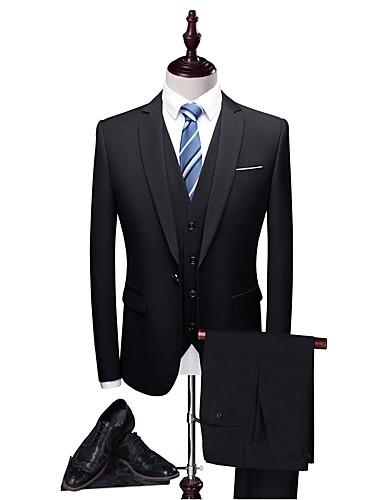 Jednobojni Kroj po mjeri Poliester Odijelo - Stepenasti Droit 1 bouton / odijela