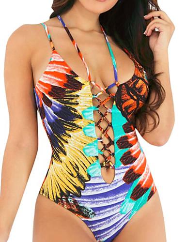 e0c3b6982d068 Women's Basic Strap Rainbow Underwire Cheeky One-piece Swimwear - Geometric  Print S M L Rainbow