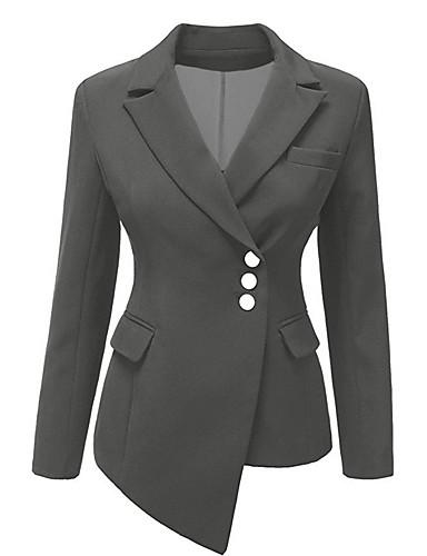 Žene Party Posao Normalne dužine Sako, Jednobojni Kragna košulje Dugih rukava Poliester Plava / Crn / Sive boje