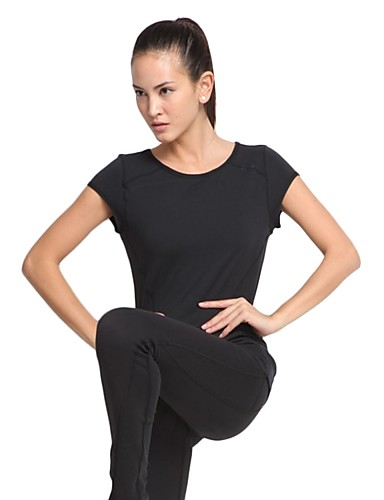 658b1b0e18c LINEBREAK Women s Cut Out Yoga Top Black Dark Grey Sports Solid Color Top Zumba  Yoga Running Short Sleeve Activewear Quick Dry Sweat-wicking Stretchy