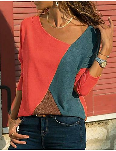 billige Dametopper-V-hals Store størrelser T-skjorte Dame - Fargeblokk Grunnleggende Hvit XXXL