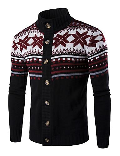 voordelige Uitverkoop-Heren Kerstmis / Dagelijks Standaard Geometrisch / Kleurenblok Lange mouw Normaal Pullover Zwart / Donkergrijs / Lichtgrijs L / XL / XXL