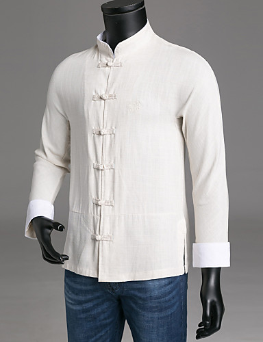Men's Chinoiserie Slim Shirt - Solid Colored Standing Collar / Long Sleeve / Spring / Fall