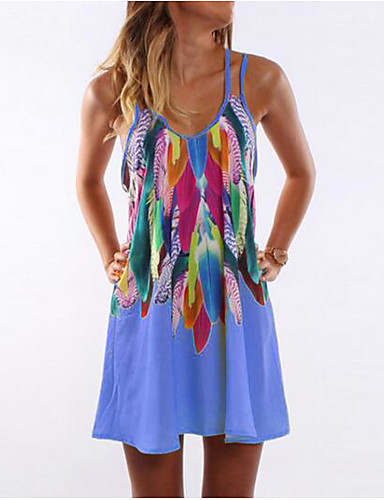 baratos Roupa de Mulher-Mulheres Feriado Reto Vestido - Estampado Com Alças Mini