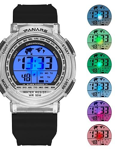 Muškarci Sportski sat digitalni sat Japanski Šiljci za meso Silikon Crna / Svijetlo plava 30 m Vodootpornost Kalendar Štoperica Šiljci za meso Moda - Crn Plava / Svijetli u mraku