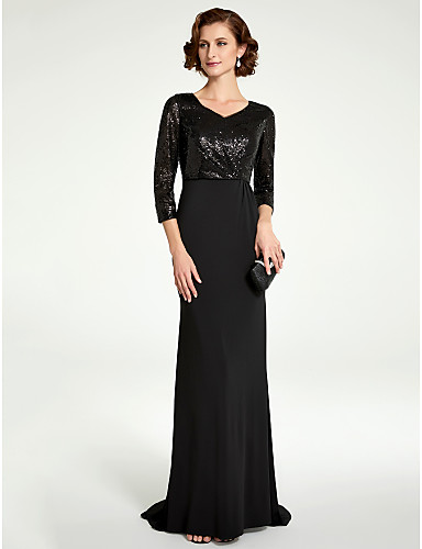 Sheath / Column V Neck Floor Length Sequined / Knit Mother of the Bride Dress with Sequin by LAN TING BRIDE®