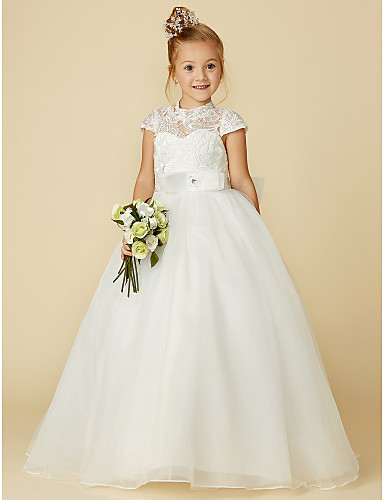 Ball Gown Floor Length Flower Girl Dress - Lace   Tulle Short Sleeve High  Neck with Bow(s)   Lace   Sash   Ribbon by LAN TING BRIDE® 6e06548e2a78