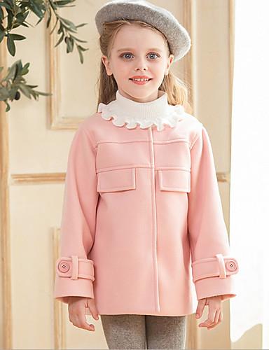 子供 女の子 活発的 ソリッド 長袖 ロング ポリエステル ジャケット&コート ピンク