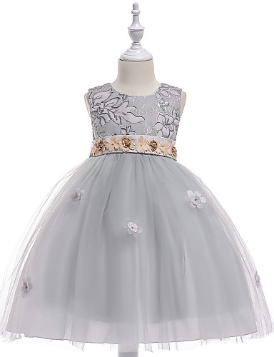 93f67d841c92 Princess Medium Length / Midi Flower Girl Dress - Tulle / Sequined  Sleeveless Jewel Neck with Petal / Appliques / Tiered by LAN TING Express