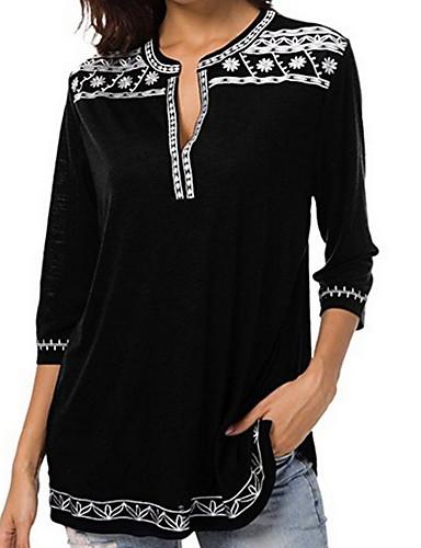 billige Dametopper-Dyp V Store størrelser Skjorte Dame - Ensfarget / Geometrisk Grunnleggende Lilla