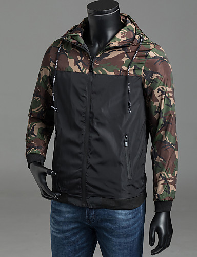 78431bb9e0e1b Men's Daily / Weekend Active Spring / Fall Plus Size Regular Jacket, Camouflage  Hooded Long Sleeve Polyester Classic Style Green / Red / Gray XXXL / 4XL /  ...