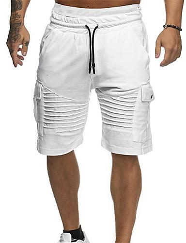 abordables Escapade de Plage-Homme Basique Quotidien Short Pantalon - Couleur Pleine Coton Vert Blanc Rouge XL XXL XXXL