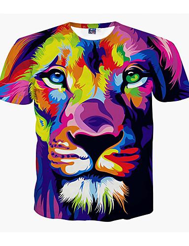 お買い得  アニマルプリント-男性用 プリント プラスサイズ Tシャツ ラウンドネック 動物 ライオン / 半袖