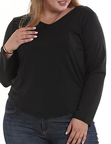 2019 Nuovo Stile T-shirt - Taglie Forti Per Donna Per Uscire Essenziale - Moda Città Manica A Pipistrello Schiena Scoperta - Con Fiocco, Tinta Unita A V - Cotone Nero Xxxxl - Estate #07045426