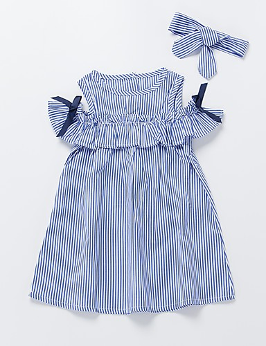 66a03d378f53f6 Toddler Girls  Active   Sweet Daily   Going out Blue   White Striped Bow    Pleated Sleeveless Knee-length Cotton Dress Blue  07049513