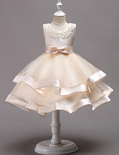 Princeza Do koljena Haljina za djevojčicu s cvijećem - 100% poliester Bez rukávů Ovalni izrez s Faux Pearl / Perlica / Mašna po LAN TING Express