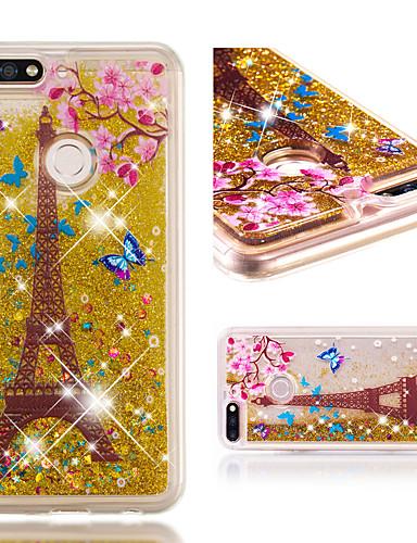 Θήκη Za Huawei Honor 7C(Enjoy 8) Otporno na trešnju / Šljokice Stražnja maska Eiffelov toranj / Šljokice Mekano TPU