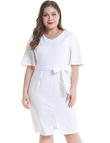 d2305a76d812 Γυναικεία Μεγάλα Μεγέθη Κομψό Θήκη Φόρεμα - Μονόχρωμο Ως το Γόνατο Λαιμόκοψη  V   Sexy