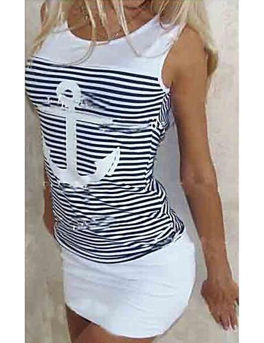 povoljno Ženske majice-Majica s rukavima Žene - Osnovni Dnevno Prugasti uzorak / Miks boja Slim, Dungi Plava
