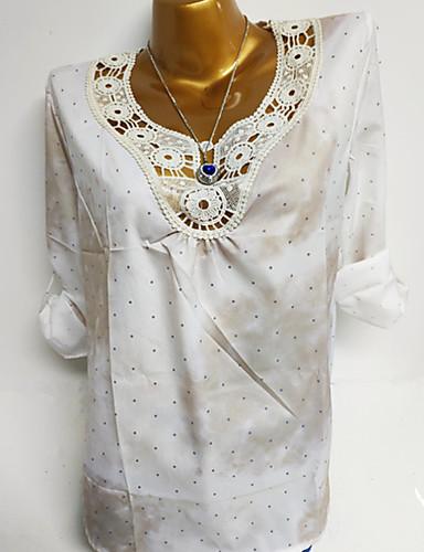 billige Dametopper-Store størrelser Skjorte Dame - Ensfarget / Polkadotter / Geometrisk Grunnleggende Rosa XXXL