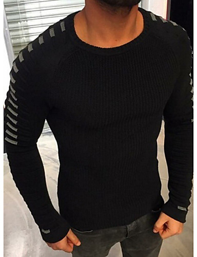 מבוגרים XL / XXL / XXXL שחור / כחול נייבי / ירוק צבא אקריליק, סוודר רגיל רגיל שרוול ארוך קולור בלוק בסיסי יומי בגדי ריקוד גברים