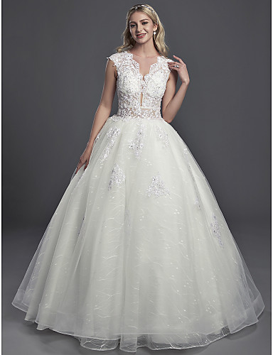 5d8c2b8bda Ball Gown Illusion Neck Chapel Train Lace   Organza   Tulle Made-To-Measure Wedding  Dresses with Sequin   Buttons by LAN TING BRIDE®