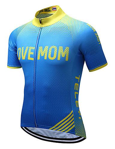 cheap Cycling Clothing-TELEYI Men's Short Sleeve Cycling Jersey - Blue+Yellow Stripes Bike Jersey Top Moisture Wicking Sports Coolmax® Terylene Mountain Bike MTB Road Bike Cycling Clothing Apparel / Stretchy / SBS Zipper